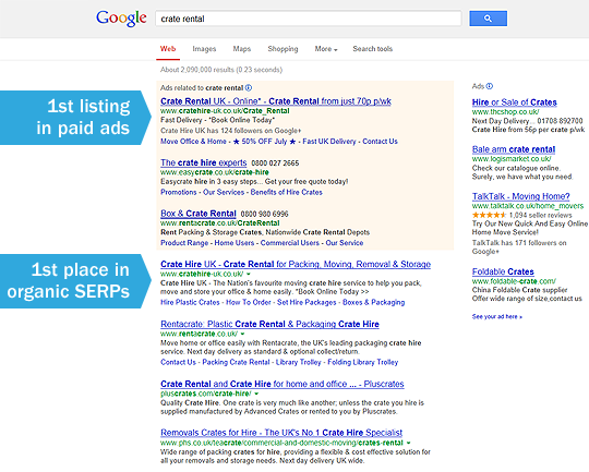 Crate Hire UK Google Listings
